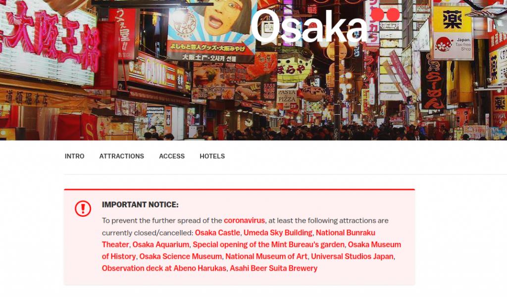 Osaka ist wegen Corona-Virus geschlossen